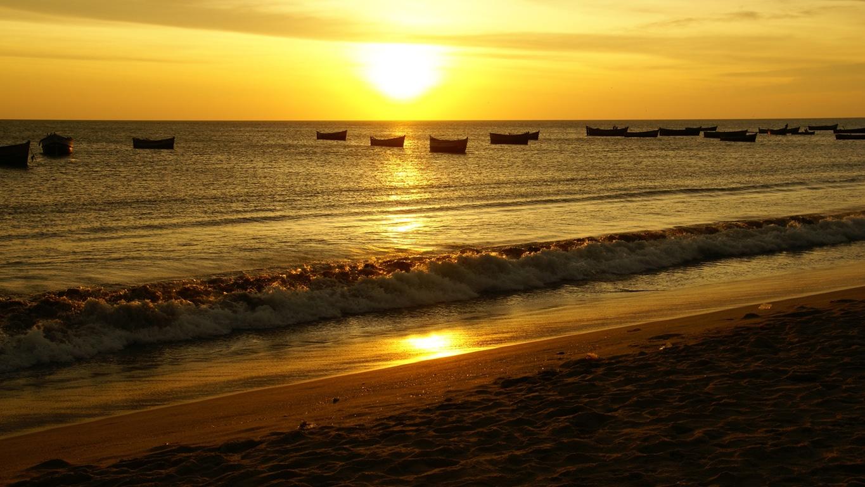 Coucher de soleil sur la plage de Rameshwaram (Tamil Nadu)